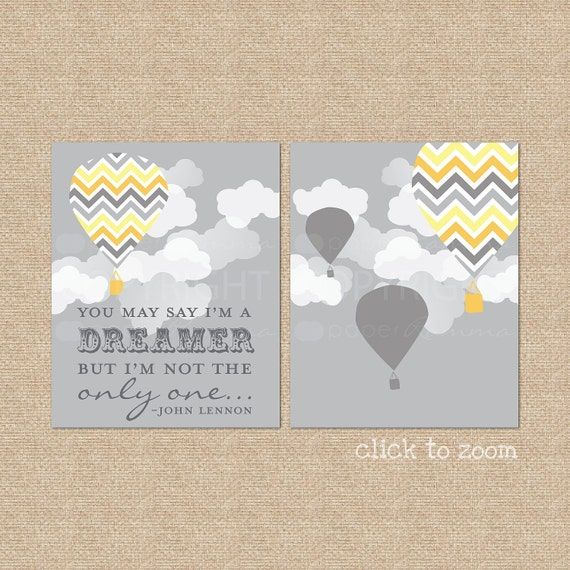 You may say I'm a Dreamer... Giclee Art Prints for Nursery / Child's Room - Custom Match colors to your room // N-G20-2PS AA1