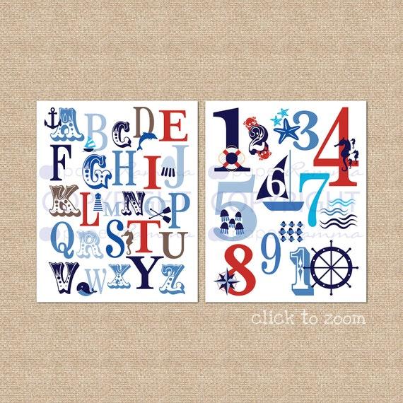 Ocean Nautical ABC and 123 Typography Giclée Art Prints, two print set // N-G47-2PS AA1 AA1