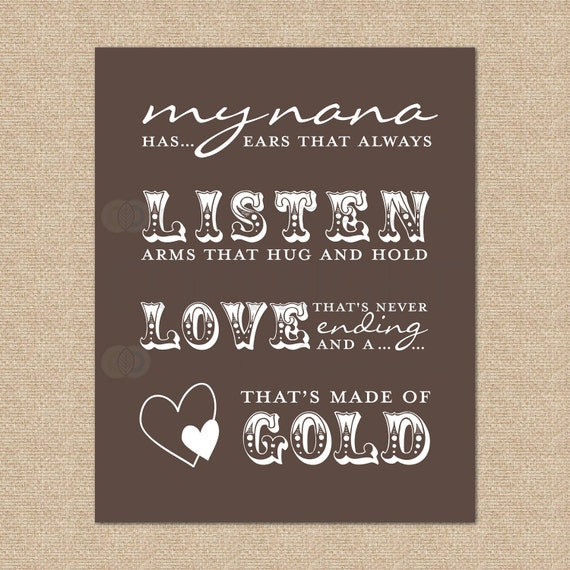 Nana Quote // My Nana has ears that always listen arms that hug and... // Your choice of Canvas or Art Print // H-G06-1PS AA1