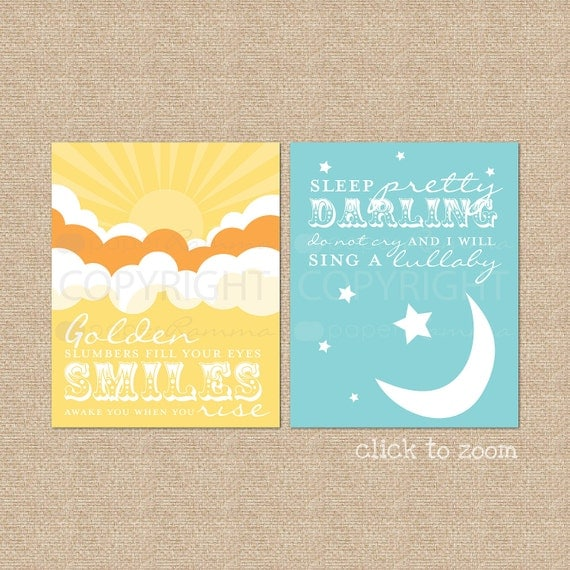 Golden Slumbers, Quote by The Beatles // Set of 2 Nursery / Kids Art Prints Custom match colors to a room or bedding // N-G04-2PS AA1