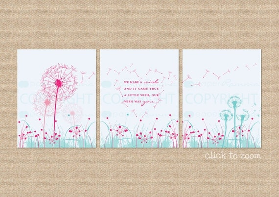 "Dandelion Wishes, ""We made a wish..."" 3 Print Set // Custom match colors to nursery/room // a PaperRamma Exclusive Quote // N-G24-3PS AA1"
