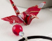 NECKLACE - Origami Everlasting Peace Crane Necklace Red Paper Design