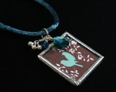 """Hand-Soldered Glass Charm Necklace - """"No Limit But The Sky"""" brown with blue birds and Swarovski Crystals"""