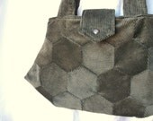 Hexagon Purse Modern Patchwork Bag in Forest Green Corduroy with an Earthy Floral Lining