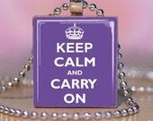 Keep Calm And Carry On purple - Scrabble Tile Pendant - Gift Tin