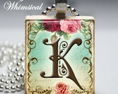 Personalized Jewelry - Victorian Initial K - Scrabble Tile Pendant