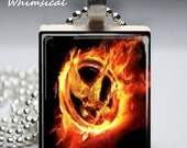 Hunger Games Jewelry - Flaming Mockingjay - Scrabble Tile Pendant