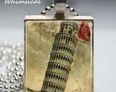 Scrabble Tile Jewelry - Leaning Tower of Pisa - Scrabble Tile Pendant