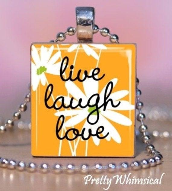 LIVE LAUGH LOVE orange floral - Scrabble Tile Pendant - Gift Tin