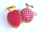 Walnut Babies Christmas ornaments- Set of 2 (Red duvets)