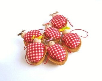 Walnut Babies Christmas Ornaments Set of 6 (Red Gingham)