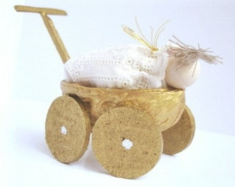 Walnut carriage with baby- Wedding/ Baby shower (Lt. brown hair)