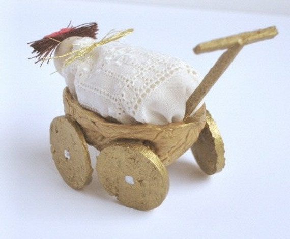 Walnut carriage with baby- Wedding\/ Baby shower (Dark brown hair)