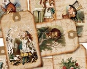 Gift Tags - Alice in Wonderland - Digital Collage Sheet 978 - Print Your Own