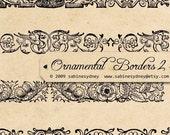 Vintage Ornamental Borders 2 - Digital Collage Sheet 369 -