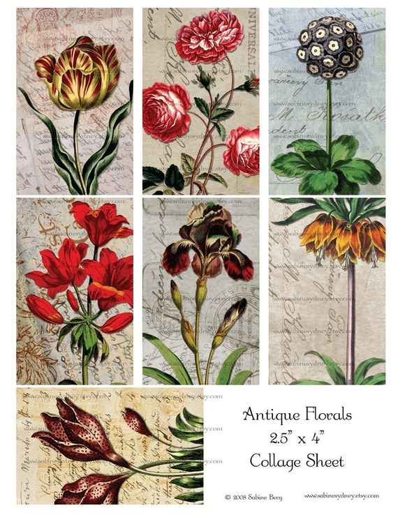 Antique Florals 2 - Digital Collage Sheet 214 - Ephemera - Handwriting - ATC ACEO - Buy THREE Get One FREE