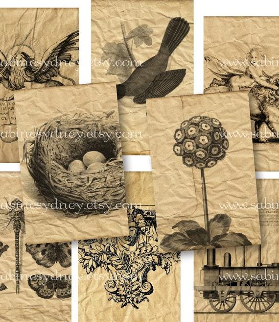 1 x 1.5 Tiles - Aged Ephemera 2 - Digital Collage Sheet 586