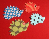 Mini Hedgehog Applique Iron-On Patches-blue/green/orange/blue