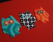 Mini Owl Friends Appliques/Iron-On Patches- turquoise/black/orange