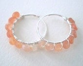 Peach Moonstone Ombre Hoop Earrings