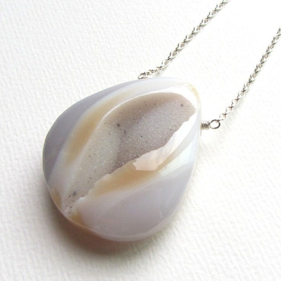 Natural Druzy Necklace with Long Sterling Silver Chain