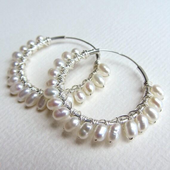Wire Wrapped Pearl Hoop Earrings - Wedding Hoop Earrings with Freshwater Rice Pearls
