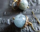Atlantic Acorn - Aquamarine & brass earrings - March birthstone
