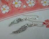 Tiny Angel Wing  Earrings, Antiqued Silver Angel Wings, Dangle Wings Earrings