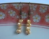 Dancing Pearl Earrings, Peach Faux Pearl Beads, Handmade Jewerly