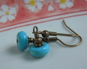 Turquoise Bead Antiqued Brass Earrings