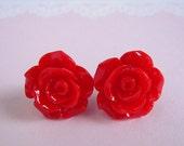 Red Rose Studs Earrings, Medium Rose, Red Flower Earrings