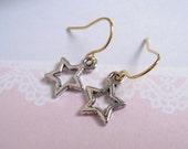 Silver Star Earrings, Little Star Earrings, Gold Ear Wires, Simply Chic