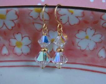 Clear Crystal Earrings, Handmade Swarovski Crystal Earrings, Gold Wire Wrapped, Wedding Jewelry