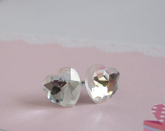 Heart Stud Earrings, Glass Heart, Diamond White, Crystal Heart Earrings, Stainless Steel Posts