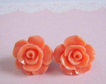 Medium Rose Studs Earrings - Peach Flower Earrings - Floral Jewerly