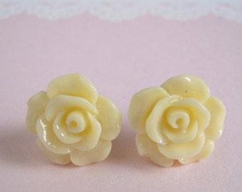 Medium Rose Studs Earrings, Ivory Flower, Cream White Rose Post Earring