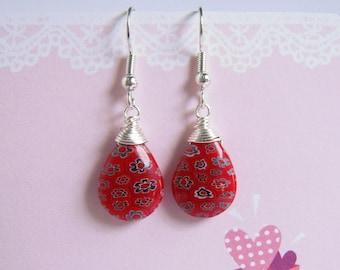 Millefiori Earring, Red Teardrop Glass, Silver Dangle Earrings
