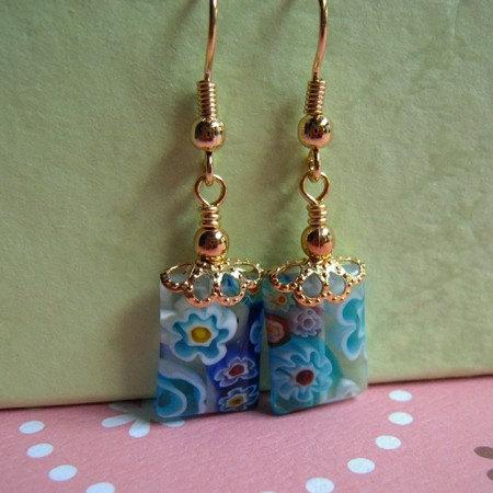 Millefiori Gold Earrings