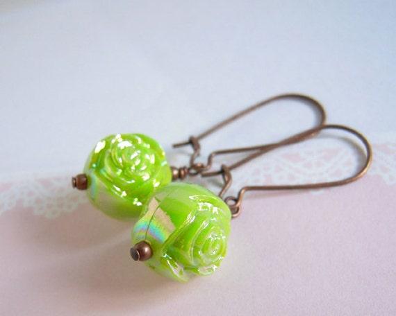 Green Rose Bead Earrings