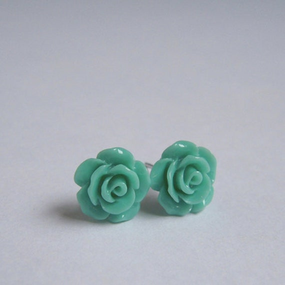 Dainty Rose Stud Earrings - Turquoise Blue - Floral Jewelry