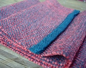 Handwoven Chenille Tencel Scarf in Dark Teal and Deep Coral