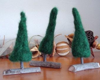 Trio of Needle Felted Trees