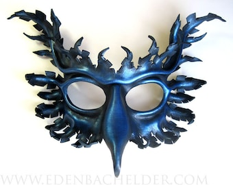 Griffin leather mask, hand-painted in midnight and metallic royal blue, gryphon, Halloween