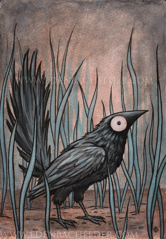 Black Bird, matted original painting by Eden Bachelder, in watercolor, ink, and gouache, raven, crow, corvid