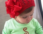 Ruby Red Double Ruffle Boutique Hair Bow and Red Crochet Beanie... Available in infant or toddler size