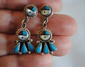 Silver Turquoise Earrings  Zuni Sunface  Coral, Onyx, Shell Vintage