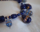 Handmade Glass Bead Necklace  Lampwork Cobalt Blue