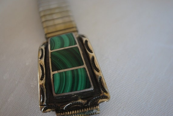 Silver and Malachite Watchband Vintage