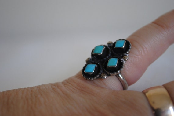 Silver and Turquoise Ring  Vintage  Jimmie Etsate Zuni Silversmith