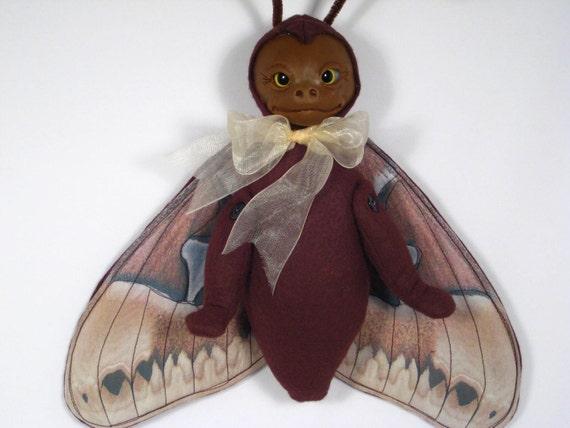 Felt and Polymer Moth Fairy OOAK Art Doll